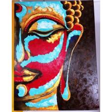Cuadro media cara Buda color